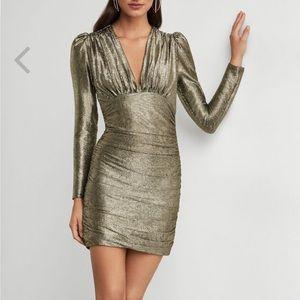 BCBG Gold Metallic Bodycon Dress Small - New
